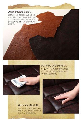 レザータイプ木肘レトロソファ【arttic】アーティック(2人掛け,キャメルブラウン)