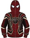 Silver Basic Chaqueta con Cremallera para Niños Superhéroe Capitán América Iron Man Disfraz de HalloweenS,01Traje de Spiderman-3…