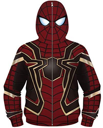 Silver Basic Felpa con Zip Super Hero Cosplay Bambino Custume in Carnevale e Feste,Spiderman B-1,M…