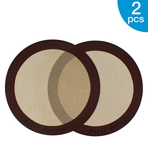 Silicone Baking Mats 2Pack Nonstick Silicone Baking Sheet Liner Reusable Heat Resistant Baking Pastry Sheets for Bake Pans/Rolling/ Macaron/Cookie Round 9quot Brown