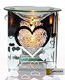 Klass Home Collection Brûleur à Huile Essentielle Compatible Yankee Candle Bougie parfumée en Forme de cœur pour Bougies Chauffe-Plat aromathérapie Cadeau de Noël (Verre uni), Argent, 12 x 12 x 13 cm