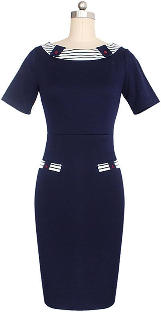 Wenli Women Short Sleeves Bodycon Wear to Work Business Midi Cocktail Dress Blue S