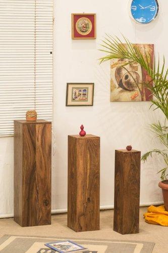 SEDEX Pillar Dekosäule 25/25/85 cm Blumensäule Holzsäule Podest Deko Palisander Massivholz