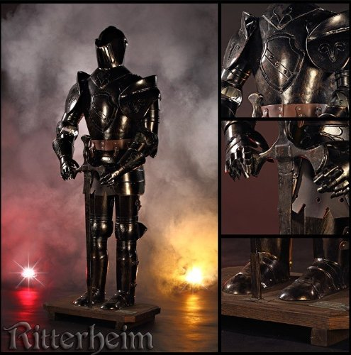 TSGPS GmbH - Armatura autentica scura per cavaliere con spada e pedana, 103 cm