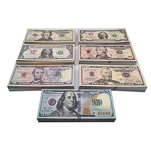Muvopct Movie Prop Money Full Print 2 Sided,Play Money 140 Sets for Movie,Teaching and Birthday Party