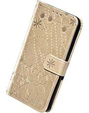 Herbests Kompatibel med Samsung Galaxy A10 läderfodral skyddande fodral mobiltelefonfodral elefant blommor mönster flip plånbok väska ställ vikbart skal fodral magnetiskt lås, guld