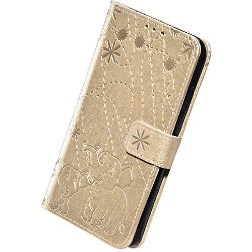 Herbests Custodia Compatibile con Samsung Galaxy J3 2017 J330 Flip Case Cover in Pelle Portafoglio Custodia Retro Goffratura Elefante Copertura Puro Color Wallet Case con Supporto di Stand,Oro