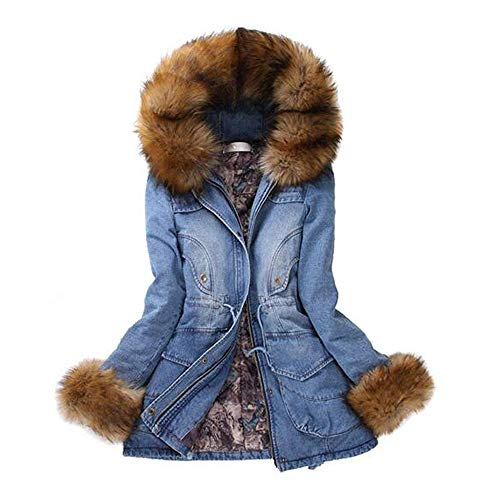 BESSKY Damen Hoodie Langarm Pullover Kapuzenpulli Outwear Womens Pelzkragen Mit Kapuze Schlanke Lange Warme Winterjacke Jean Denim MäNtel Plus Size