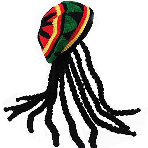 HZYFP Dreadlocks Wig Hat Reggae Jamaican Style Rasta Hat Crocheted Knitted Beret Cap Long Black Hair Costume (Black)
