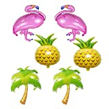 Beach Summer Tropical Party Theme Flamingo and Pineapple Balloons Palm Tree Mylar Balloon for Flamingo and Pineapple Party Decorations Luau Party Hawaiian Flamingo Party Supplies (Set of 6)