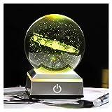 GWTRY Bola Solar de la Bola de Cristal Bola del Sistema 3D con un Modelo cósmico del Interruptor táctil (Color : Silver LED Base, Talla : 8 cm)