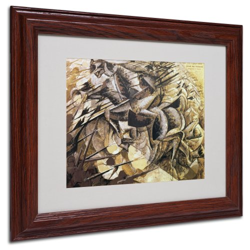 The Charge of The Lancers 1915 Artwork by Umberto Boccioni, Wood Frame, 11 by 14-Inch