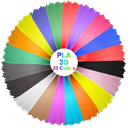 ELEGIANT 20 Stück Ink Filament PLA Filament 3D Stift Filament 1.75MM 10M 3D Print Filament 3D Printing Pen Supplies PLA Material 20 Farben Set für 3D Drucker Stift 3D Pen Kinder