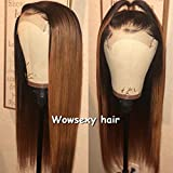 Wowsexy Hair Ombre 1b/30 Lace Front Wigs for Black Women Brazilian Virgin Human Hair Wigs with Baby Hair African American Wigs 1B/30 Pre Plucked Lace Wigs (22 inch, Lace Front Wig)