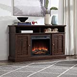 BELLEZE 48' TV Stand Console W/Media Shelves for TVs up to 50' Wide with Fireplace and Remote Control, Espresso