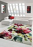 Traum Tappeto Designer Tappeto moderno tappeto del salotto motivo floreale Creme Verde Turchese Rosa Rosa Größe 80x150 cm