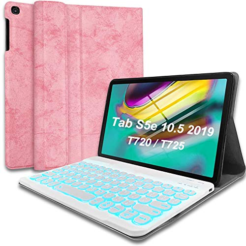 Wineecy Galaxy TabS5e 10.5 Backlit Keyboard Case 2019 SM-T720 / T725, Round Key 7 Colors Light Detachable Wireless Keyboard with PU Cover for Samsung Galaxy Tab S5e 10.5 2019 (Galaxy Tab S5e, Pink)