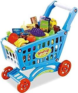 赤ちゃん子供用シミュレーションスーパーマーケットショッピングカートおもちゃトロリー野菜と果物セット収納バスケットおもちゃ早期教育おもちゃ(色:青)