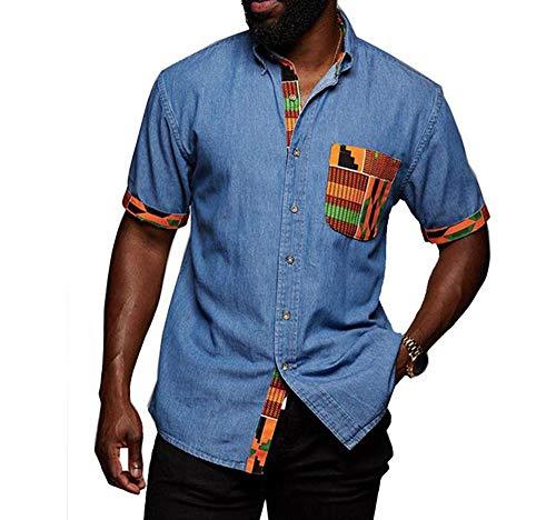 Otoño de los Hombres Nueva Camisa de Manga Corta patrón étnico Costura imitación Tela Vaquera Camisa de Estilo étnico
