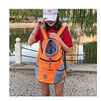 ペットのフロントポケットメッシュバックパックは、携帯用旅行バックパックアウトドアペット犬のショルダーバッグ (Color : Orange, Size : XL)