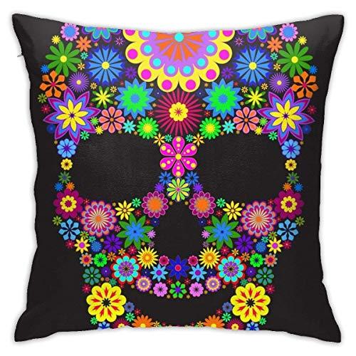 Lsjuee Throw Pillow Cover Vector Illustration Floral Skull Aislado en Cojín Decorativo Funda Throw Pillow Fundas Protectores 45x45 cm