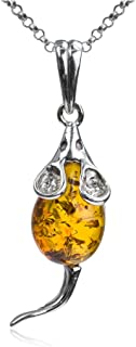 Amber Sterling Silver Mouse Pendant Necklace Chain 18