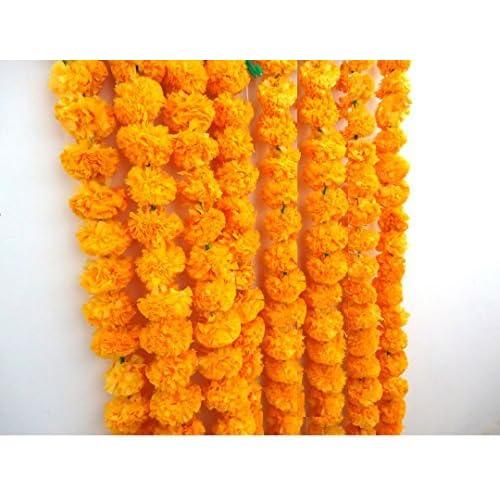 Amazon Craffair Artificial Marigold Flower Strings Orange Color