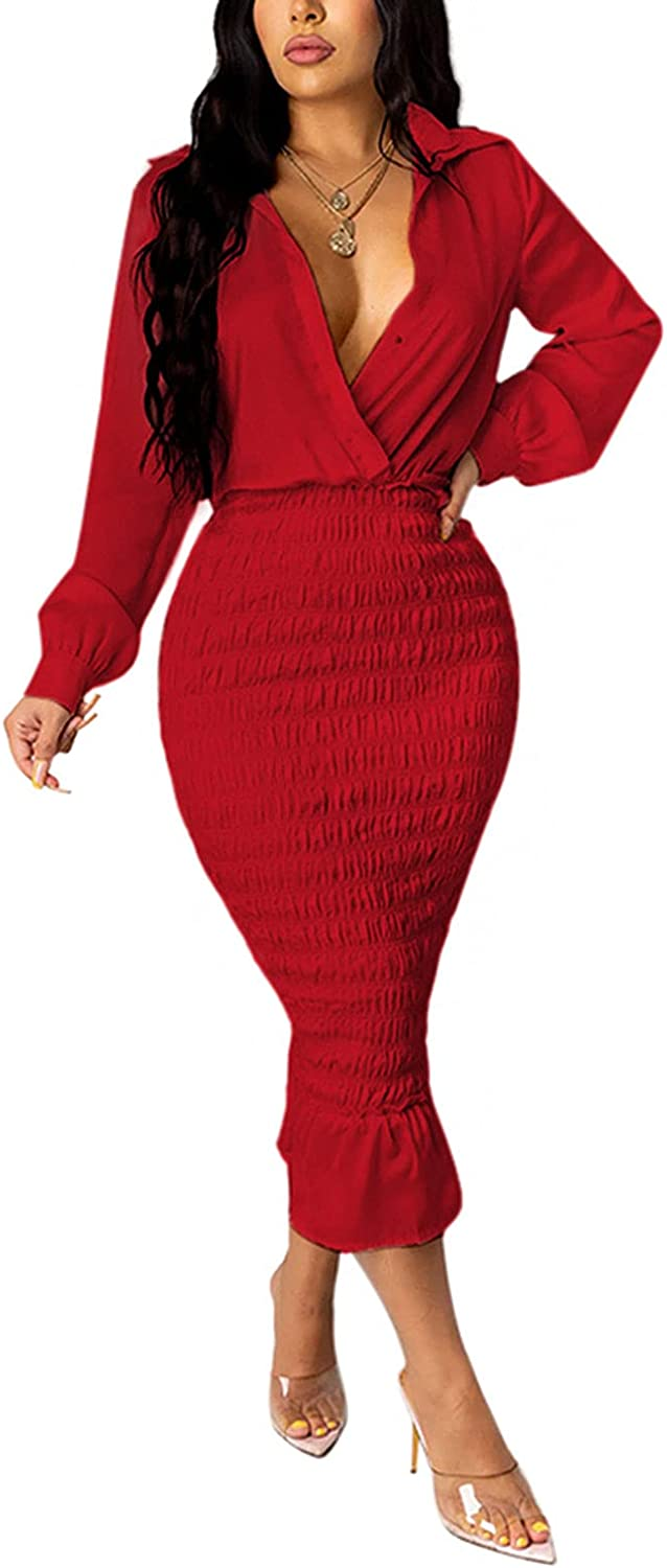 kaimimei Party Midi Dresses for Women Sexy Elegant Long Sleeve V Neck Bodycon Casaul Wrap Ruched Dress