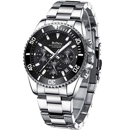 Relojes Hombre Relojes Grandes de Pulsera Militares Cronografo Diseñador Luminosos Impermeable Reloj Hombre de Acero Inoxidable Plata Analogicos Fecha