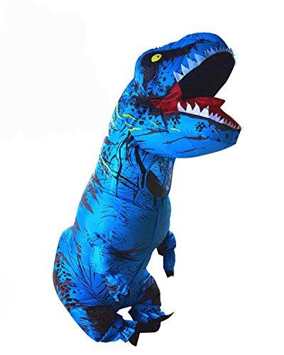 PARAYOYO Halloween Erwachsene aufblasbare T Rex Dinosaurier-Partei-Kostüm Lustige Kleid Blau und USB-Kabel