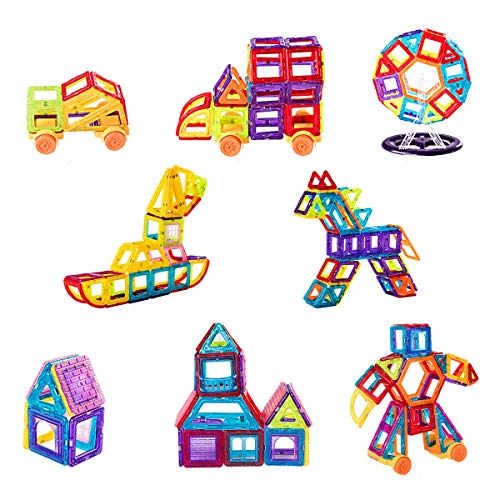 Maxmass 106 PCS Magnetic Building Blocks, DIY Building Toy with 3D Shaped Construction Kit, Creativity Toy for Child, Kids & Toddler Gifts