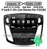 Ossuret Android 10 Autoradio-Radio mit 9-Zoll-Touchscreen Passend für Ford Focus 2012-2017, RAM 2 GB + ROM 32 GB Unterstützung für die GPS-Navigation im Auto Lenkradsteuerung