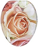 Sanilo Elongated Toilet Seat, Wide Choice of Slow Close Toilet Seats, Molded Wood, Strong Hinges (Pink Rose)