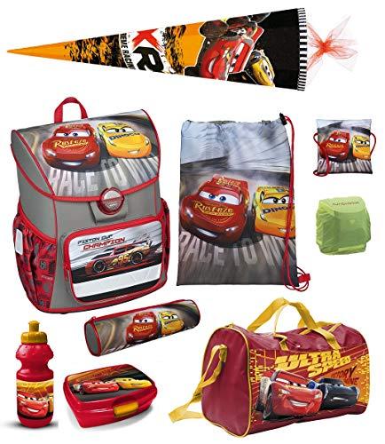 Familando Disney Cars Schulranzen-Set 10tlg. nur 820 Gramm mit Federmappe, Sporttasche, Schultüte 85cm Scooli mit Regenschutz Jungen-Schulranzen ab der 1. Klasse