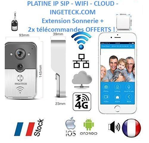 Timbre – Interfono – Platino IP SIP WiFi RJ45 Cloud – Extensión de Timbre – Compatible con Tableta/Smartphone Android y iPhone – Síntesis de Voz Francesa