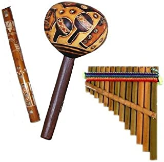 Andes Musical Three Pack Flute Maraca Pan Flute Whistle Hand Made Peru Andean *637,4,630*