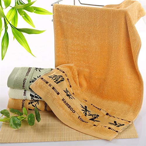 PrittUHU Toallas de Fibra de bambú Set Toallas de baño para Adultos Toalla de Toalla de Toallas de baño de Lujo absorbentes Grueso (Color : Yellow, Size : 2pc34x75 1pc70x140)