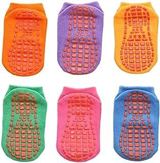 IAMZHL, 6 par/Lote 0 a 6 años Calcetines de Barco Antideslizantes de algodón para niños y niñas Calcetines de Chico de Piso de Corte bajo con empuñaduras de Goma Cuatro Estaciones-a20-4 to 5 Years