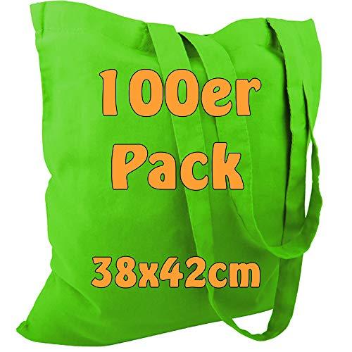 Cottonbagjoe Baumwolltasche Jutebeutel unbedruckt mit Zwei Langen Henkeln 38x42cm (Apfelgrün, 100 Stück)