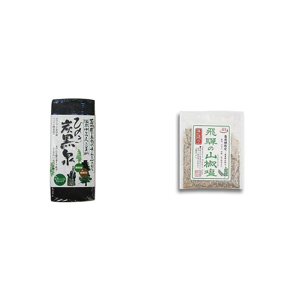 ベンチ湿度自体[2点セット] ひのき炭黒泉(75g×2)?手造り 飛騨の山椒塩(40g)