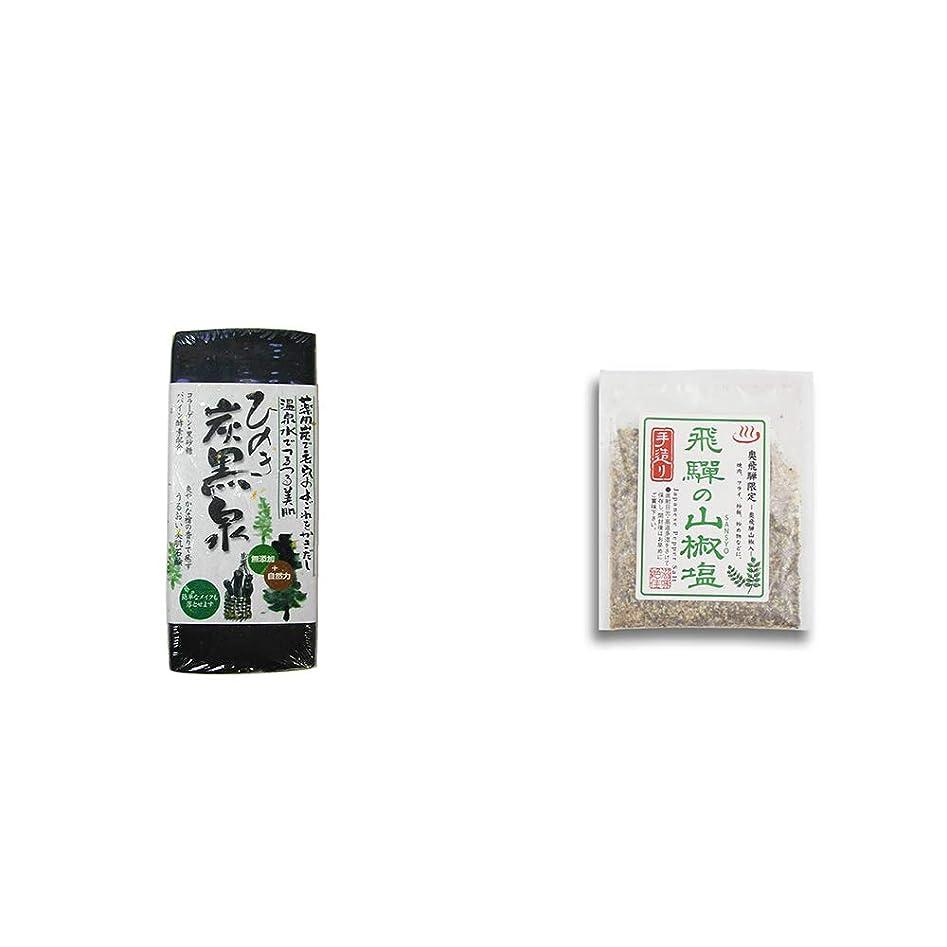 移動する広々肯定的[2点セット] ひのき炭黒泉(75g×2)?手造り 飛騨の山椒塩(40g)