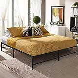 VECELO 14 Inch Platform Bed Frame/Mattress Foundation/No Box Spring Needed/Steel Slat Support (King Size), Black