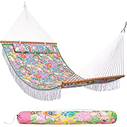 "Lazy Daze Hammocks 55"" Double Layered Quilted Fabric Hammock Swing with Pillow, Elegant Tassels and Spread Bar Heavy Duty Stylish for Two Person, Floral"