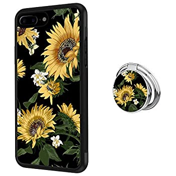 Designed Sunflower iPhone 7 Plus 8 Plus Case with Buckle Ring 360° Rotatable Silvery Durable Ring Buckle TPU Black Antiskid Tread Phone Case for iPhone 7 Plus 8 Plus