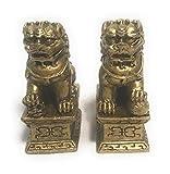 Par de Fu Chino Dogs or Guardian Lions–Golden–6cm...