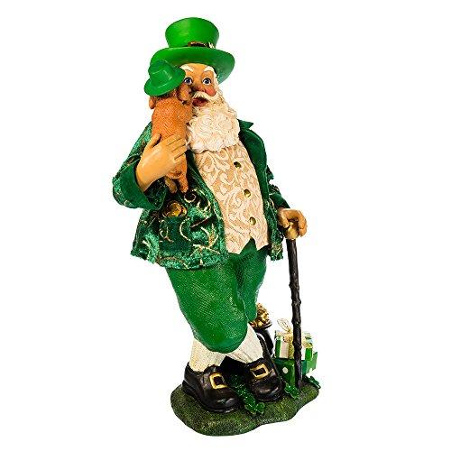 "Kurt S. Adler 11"" Musical Irish Santa with Dog Figure"