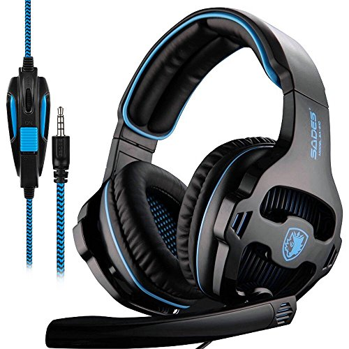 SADES SA810 Gaming Headset 3,5mm Over Ear Kopfhörer, Xbox One Headsets mit Mikrofon Lautstärkeregler für PC / XboxOne / PS4 - Schwarz