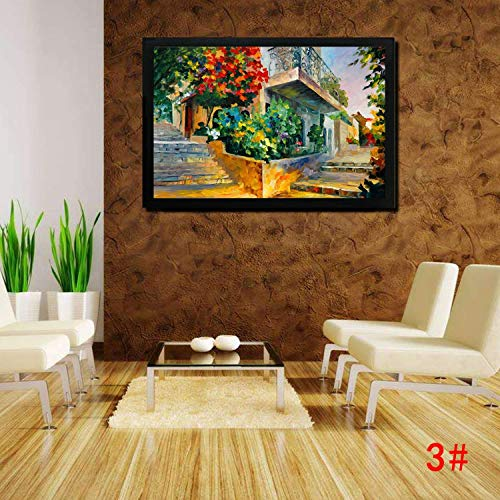 """Qenci 39.4"""" x 19.7"""" Paintworks Painted Oil Painting, Reproduction Modern Prints Artwork Abstract Landscape Pictures Printed on Canvas Wall Art Home Office Decorations Eiffel Tower Courtyard Corner"""