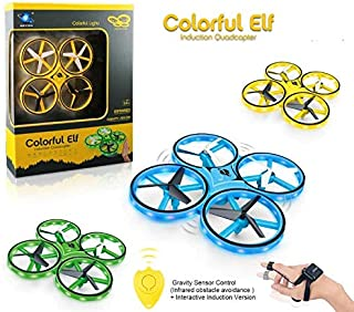 Haktoys S508 Mini LED Drone 2.4GHz RC & Wristband Quadcopter w/ Gravity Sensor, Altitude Hover, Low Battery Indicator, Gyroscope, 360° Spins, Headless & Speed Modes, Indoor-Outdoor - Colors May Vary
