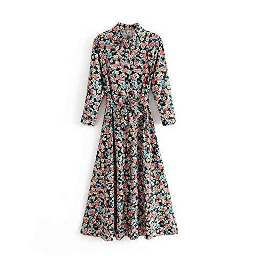 Vrouwen vintage chique bloemenprint jurk driekwart mouw sjerpen lange feestjurk casual kraagvorm dames overhemdjurken